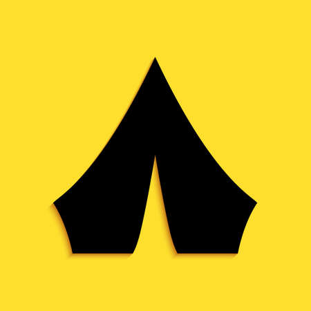 Black Tourist tent icon isolated on yellow background. Camping symbol. Long shadow style. Vector
