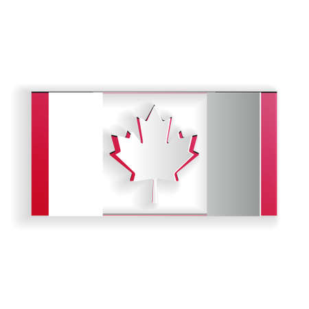 Paper cut Canada flag icon isolated on white background. Paper art style. Vector Çizim