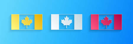 Paper cut Canada flag icon isolated on blue background. Paper art style. Vector