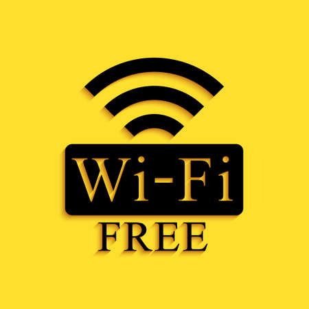 Black Free Wi-fi icon isolated on yellow background. Wi-fi symbol. Wireless Network icon. Wi-fi zone. Long shadow style. Vector 向量圖像