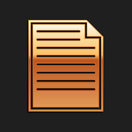 Gold Document icon isolated on black background. File icon. Checklist icon. Business concept. Long shadow style. Vector