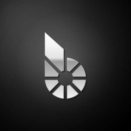 Silver Cryptocurrency coin Bitshares BTS icon isolated on black background. Physical bit coin. Digital currency. Blockchain based secure crypto currency. Long shadow style. Vector 向量圖像