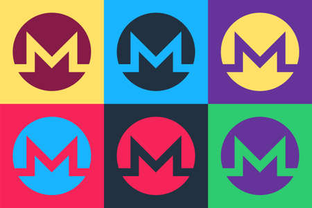 Pop art Cryptocurrency coin Monero XMR icon isolated on color background. Digital currency. Altcoin symbol. Blockchain based secure crypto currency. Vector