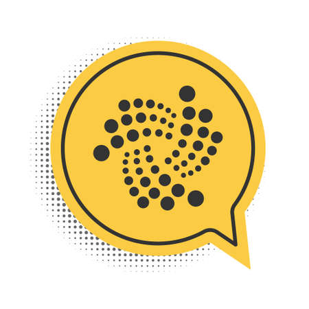 Black Cryptocurrency coin IOTA MIOTA icon isolated on white background. Digital currency. Altcoin symbol. Blockchain based secure crypto currency. Yellow speech bubble symbol. Vector 向量圖像