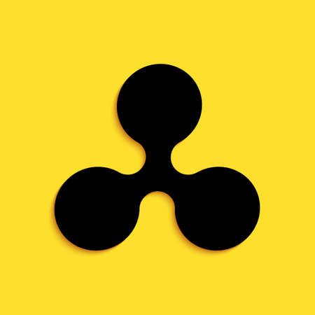 Black Cryptocurrency coin Ripple XRP icon isolated on yellow background. Digital currency. Altcoin symbol. Blockchain based secure crypto currency. Long shadow style. Vector