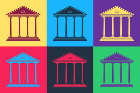 Pop art Courthouse building icon isolated on color background. Building bank or museum. Vector