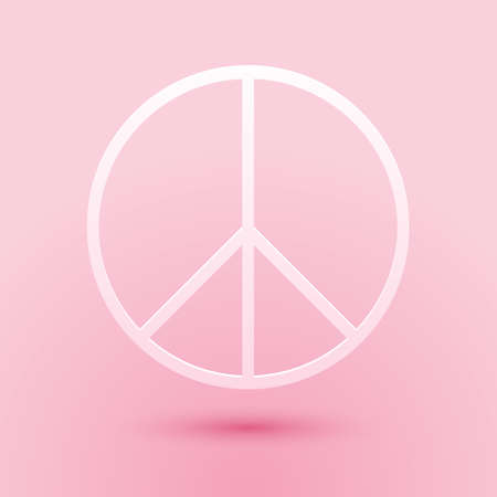 Paper cut Peace sign icon isolated on pink background. Hippie symbol of peace. Paper art style. Vector Ilustrace