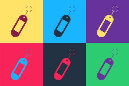 Pop art Key chain icon isolated on color background. Blank rectangular keychain with ring and chain for key. Vector