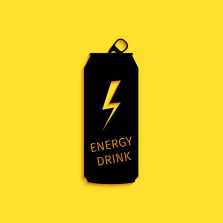 Black Energy drink icon isolated on yellow background. Long shadow style. Vector