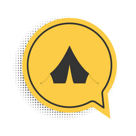 Black Tourist tent icon isolated on white background. Yellow speech bubble symbol. Vector