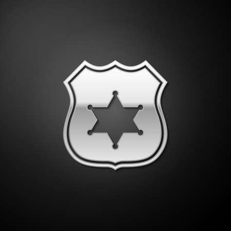 Silver Police badge icon isolated on black background. Sheriff badge sign. Long shadow style. Vector 矢量图像