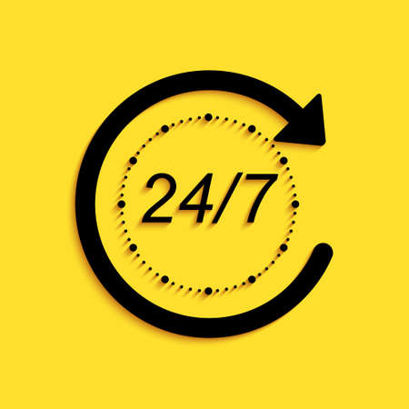 Black Open 24 hours a day and 7 days a week icon isolated on yellow background. All day cyclic icon. Long shadow style. Vector