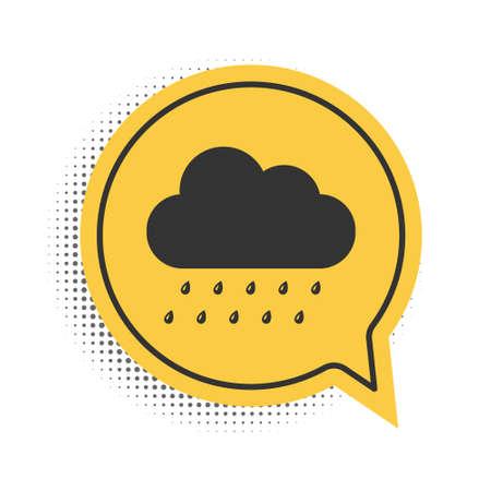 Black Cloud with rain icon isolated on white background. Rain nimbus cloud precipitation with rain drops. Yellow speech bubble symbol. Vector Vettoriali