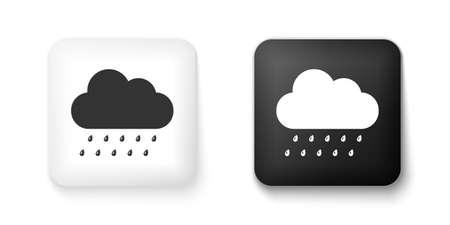 Black and white Cloud with rain icon isolated on white background. Rain nimbus cloud precipitation with rain drops. Square button. Vector