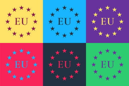 Pop art Flag of European Union icon isolated on color background. EU circle symbol. Waving EU flag. Vector