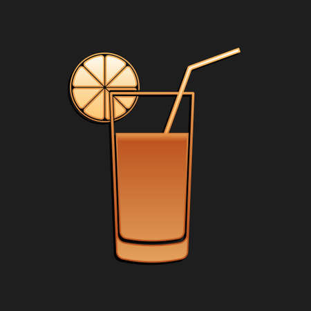 Gold Glass of juice icon isolated on black background. Orange slice and tube for drinking. Healthy organic food. Long shadow style. Vector Vettoriali