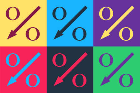 Pop art Percent down arrow icon isolated on color background. Decreasing percentage sign. Vector