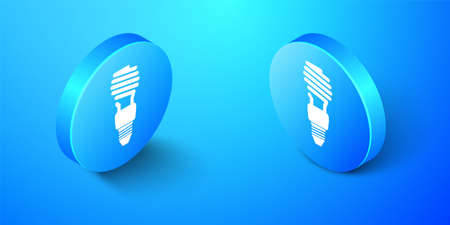 Isometric Energy saving light bulb icon isolated on blue background. Blue circle button. Vector