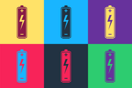 Pop art Battery icon isolated on color background. Lightning bolt symbol. Vector