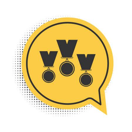Black Medal set icon isolated on white background. Winner simbol. Yellow speech bubble symbol. Vector