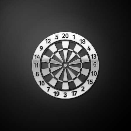 Silver Classic darts board with twenty black and white sectors icon isolated on black background. Dart board sign. Dartboard sign. Game concept. Long shadow style. Vector Ilustração