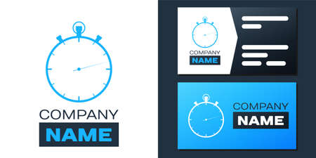 Logotype Stopwatch icon isolated on white background. Time timer sign. Logo design template element. Vector