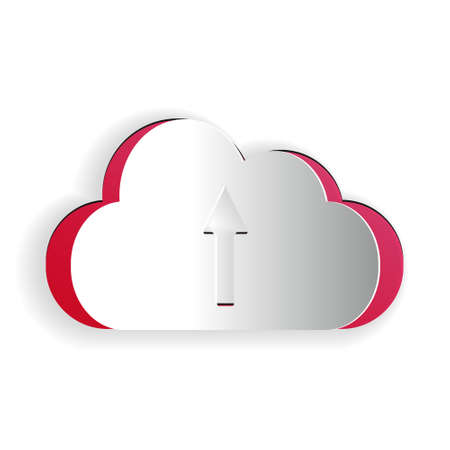Paper cut Cloud upload icon isolated on white background. Paper art style. Vector
