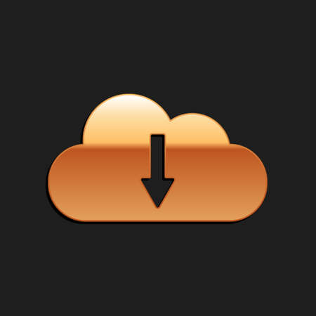 Gold Cloud download icon isolated on black background. Long shadow style. Vector