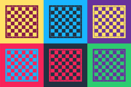 Pop art Chess board icon isolated on color background. Ancient Intellectual board game. Vector