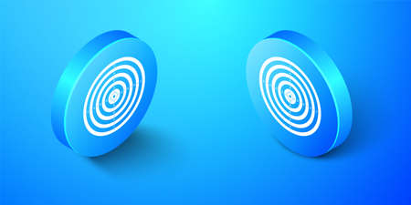 Isometric Target sport for shooting competition icon isolated on blue background. Clean target with numbers for shooting range or pistol shooting. Blue circle button. Vector