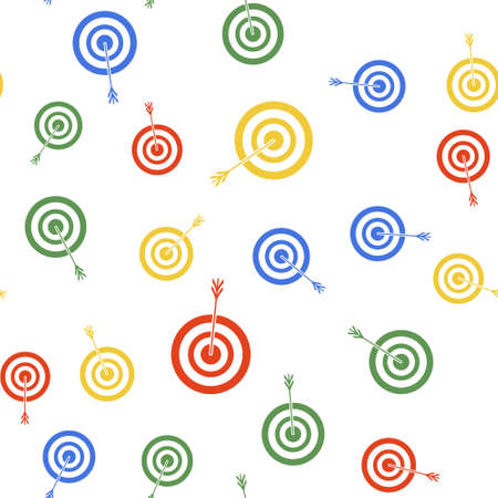 Color Target with arrow icon isolated seamless pattern on white background. Dart board sign. Archery board icon. Dartboard sign. Business goal concept. Vector