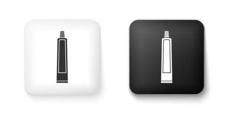 Black and white Tube of toothpaste icon isolated on white background. Square button. Vector