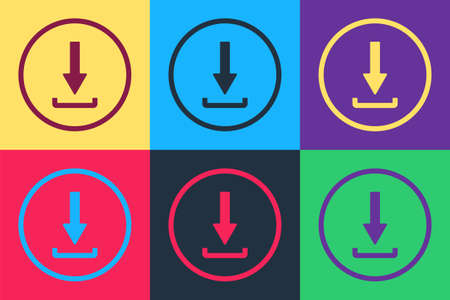 Pop art Download icon isolated on color background. Upload button. Load symbol. Arrow point to down. Vector