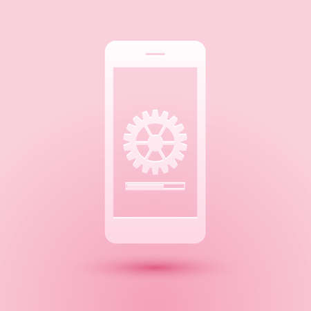 Paper cut Smartphone update process with gearbox progress and loading bar icon isolated on pink background. System software update and upgrade concept. Paper art style. Vector