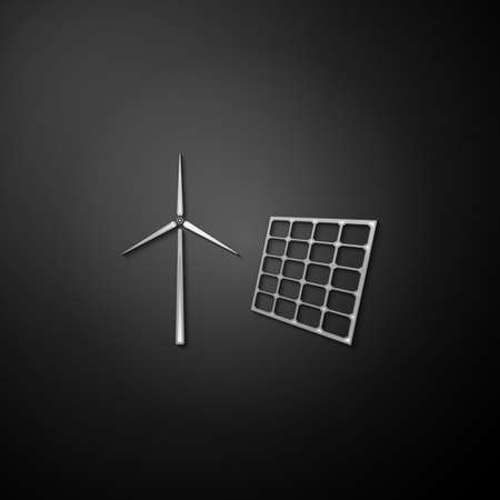 Silver Wind mill turbines generating electricity and solar panel icon isolated on black background. Energy alternative, concept of renewable energy. Long shadow style. Vector