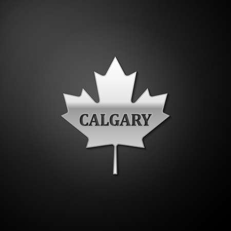 Silver Canadian maple leaf with city name Calgary icon isolated on black background. Long shadow style. Vector