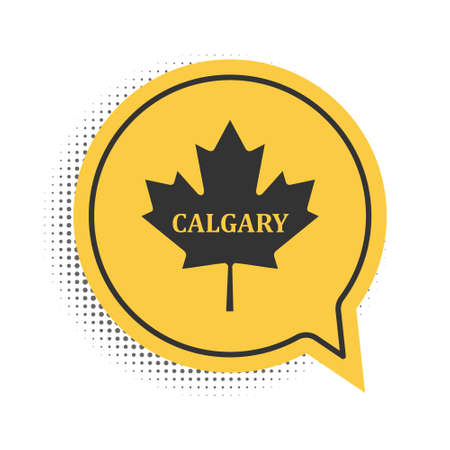 Black Canadian maple leaf with city name Calgary icon isolated on white background. Yellow speech bubble symbol. Vector