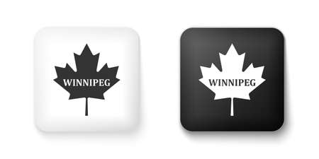 Black and white Canadian maple leaf with city name Winnipeg icon isolated on white background. Square button. Vector