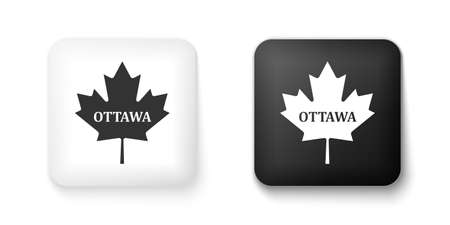 Black and white Canadian maple leaf with city name Ottawa icon isolated on white background. Square button. Vector 向量圖像