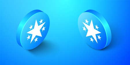 Isometric Star icon isolated on blue background. Favorite, Best Rating, Award symbol. Blue circle button. Vector 矢量图像