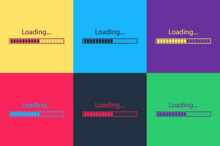 Pop art Loading icon isolated on color background. Progress bar icon. Vector