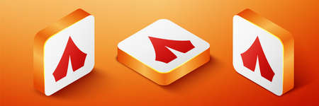 Isometric Tourist tent icon isolated on orange background. Camping symbol. Orange square button. Vector