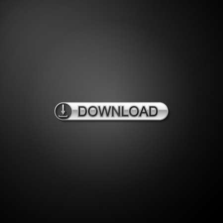 Silver Download button with arrow icon isolated on black background. Upload button. Load symbol. Long shadow style. Vector