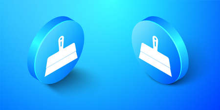 Isometric Putty knife icon isolated on blue background. Spatula repair tool. Spackling or paint instruments. Blue circle button. Vector