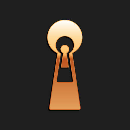 Gold Keyhole icon isolated on black background. Key of success solution. Keyhole express the concept of riddle, secret, peeping, safety, security. Long shadow style. Vector Иллюстрация