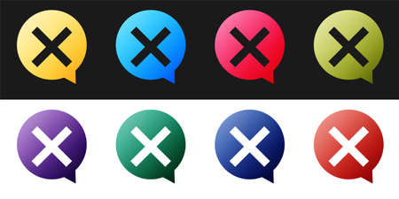 Set X Mark, Cross in circle icon isolated on black and white background. Check cross mark icon. Vector