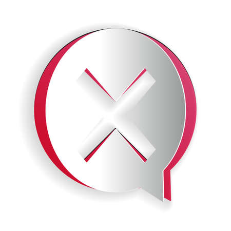 Paper cut X Mark, Cross in circle icon isolated on white background. Check cross mark icon. Paper art style. Vector