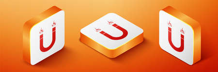 Isometric Magnet icon isolated on orange background. Horseshoe magnet, magnetism, magnetize, attraction. Orange square button. Vector