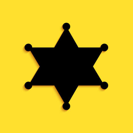 Black Hexagram sheriff icon isolated on yellow background. Police badge icon. Long shadow style. Vector