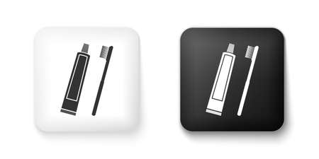 Black and white Tube of toothpaste and toothbrush icon isolated on white background. Square button. Vector Ilustracja